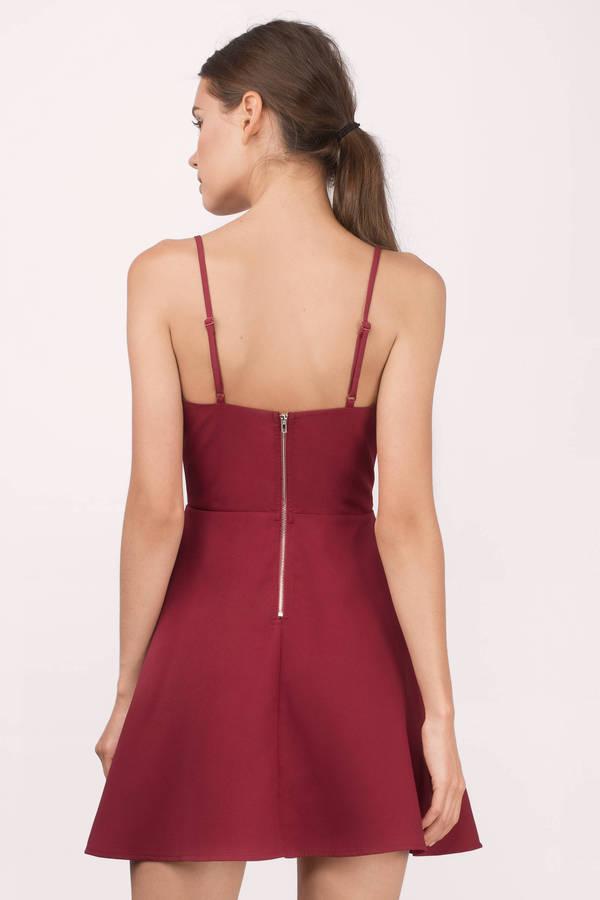 c655f5e46c11d Cute Red Skater Dress - Plunging Dress - Skater Dress - $26 | Tobi US
