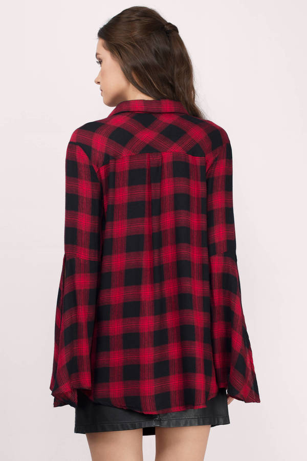 Red & Black Shirt - Red Shirt - Oversized Shirt - $29.00
