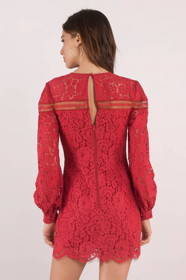 a239c2a304f Chic Red Shift Dress - Long Sleeve Lace Dress - Red Zip Dress - AU ...