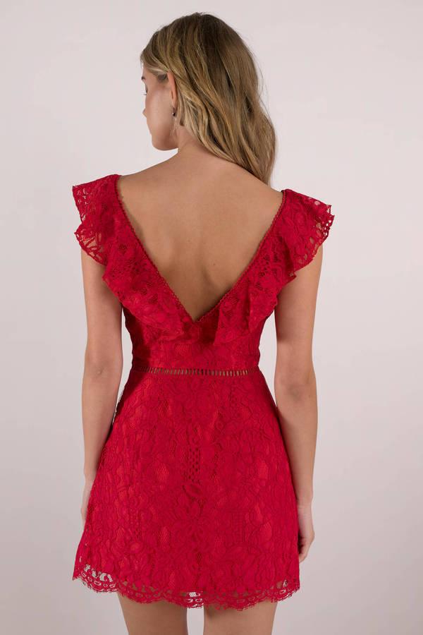 Red Skater Dress Summer Dress Red Ruffle Sleeve Dress
