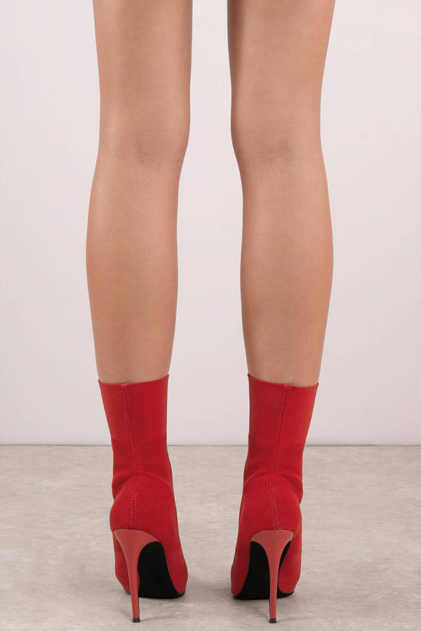 ff205ce7069 Red Steve Madden Boots - High Heel Stiletto Boots - Red Sock Booties ...