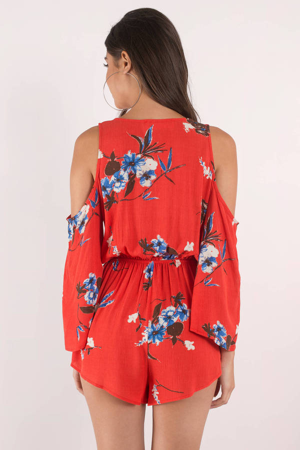6609122a69a5 Red Romper - Front Tie Romper - Red Floral Romper - Cold Shoulder ...