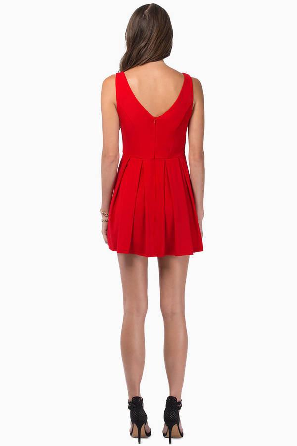 Deep V Skater Dress