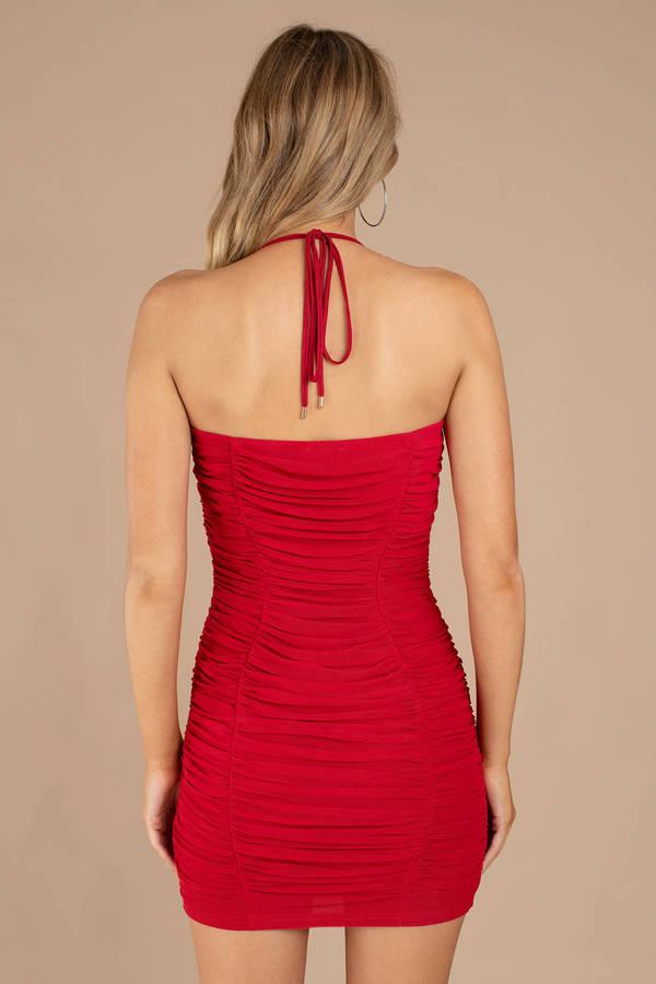 331517246bd9 Red Bodycon Dress - Halter Neck Dress - Red Mesh Bodycon Dress - C ...