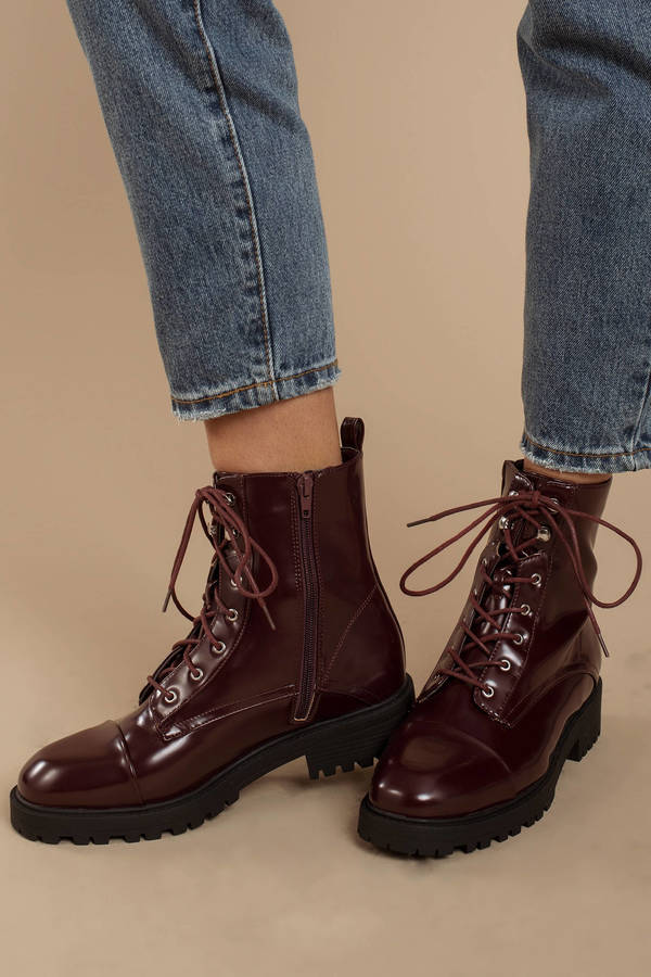68bc9a2bdca Red Boots - Cute Combat Boots - Red Patent Leather Combat Boots ...