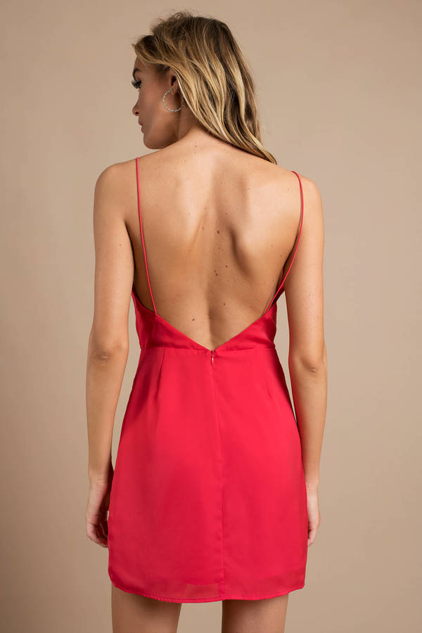 f3ad760b0c Pretty Red Wrap Dress - Going Out Dress - Red Cami Dress -  28