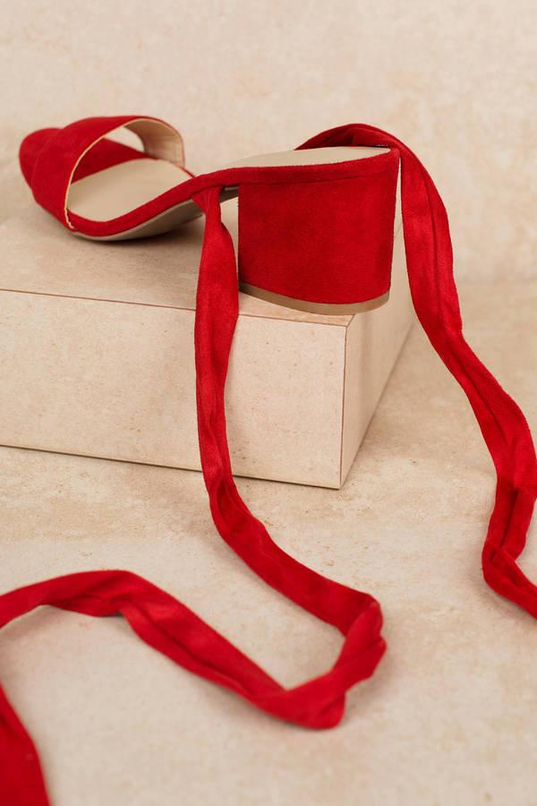 698e5c842099 Larina Black Faux Suede Ankle Wrap Heels - £52