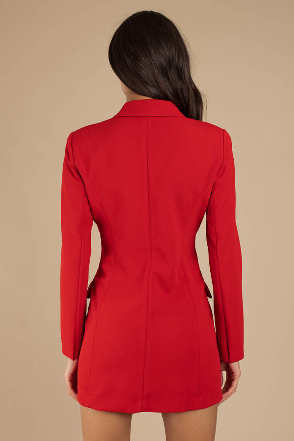 e477888700f7 Red Dress - Double Breasted Blazer Dress - Red Blazer Dress - $100 ...