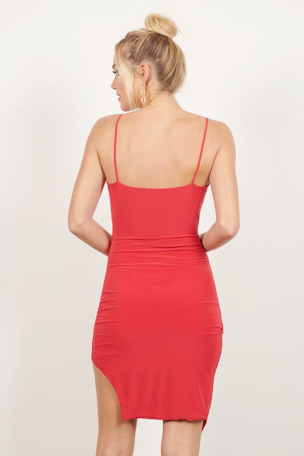 Red Bodycon Dress - Asymmetrical Dress - Form Fitting Dress - $56 ...