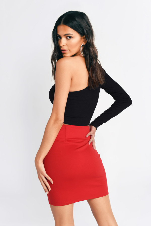fa362cec819 Red Skirt - Going Out Skirt - Red Lace Up Mini Skirt -  23