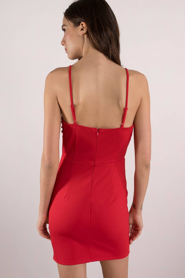 06d0e99c4711 Sexy Red Bodycon Dress - Classic Red Dress - Red Lace Up Dress - AU ...