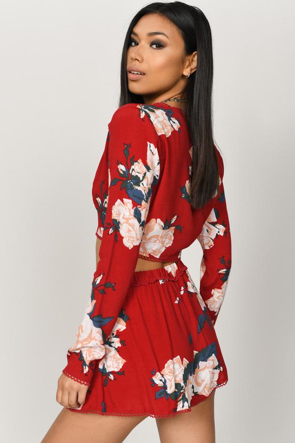 08c1fee61ae117 Trendy Red Crop Top - Floral Printed Crop Top - Red Long Sleeve Top ...