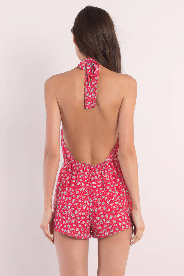 692163315d23 Red Multi Romper - Backless Romper - Floral Sleeveless Top -  11 ...