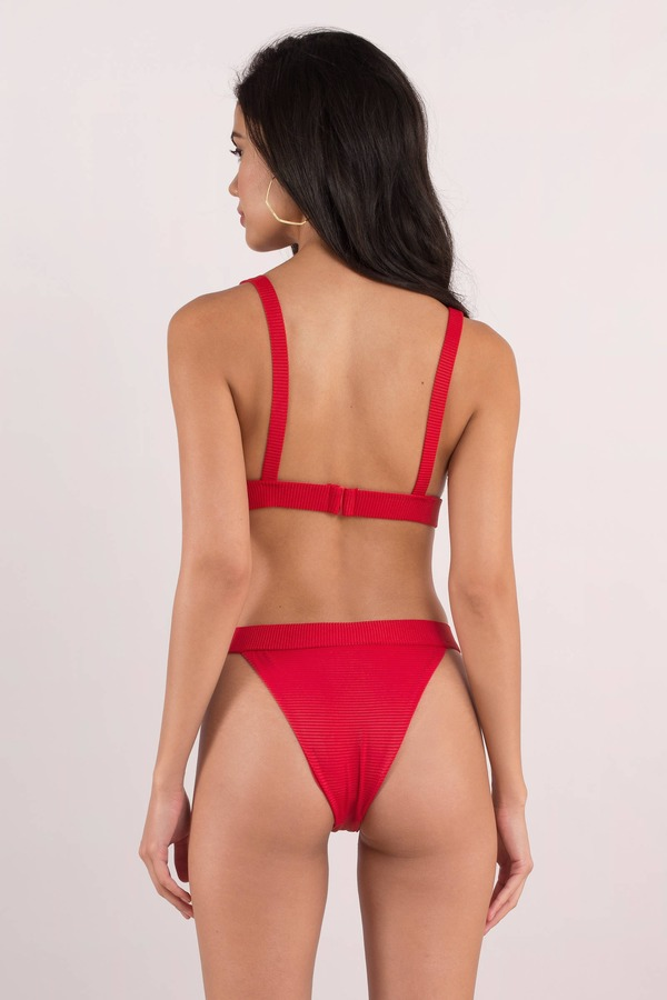 86f7848abba Trendy Red Bikini Bottom - High Waist Bikini Thong - Red Triangle ...