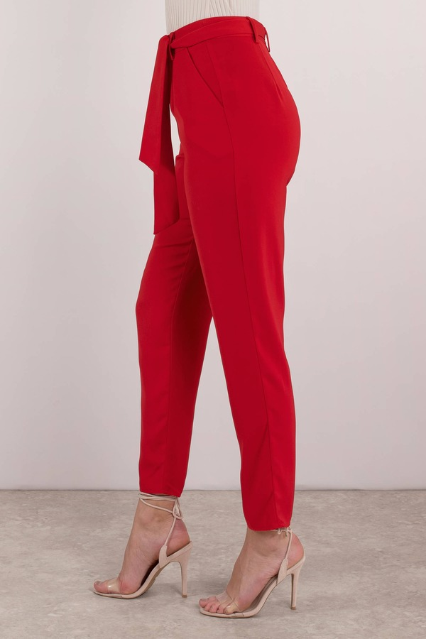 c80a9798bb Trendy Red Pants - High Waisted Tapered Pants - Red Office Pants ...