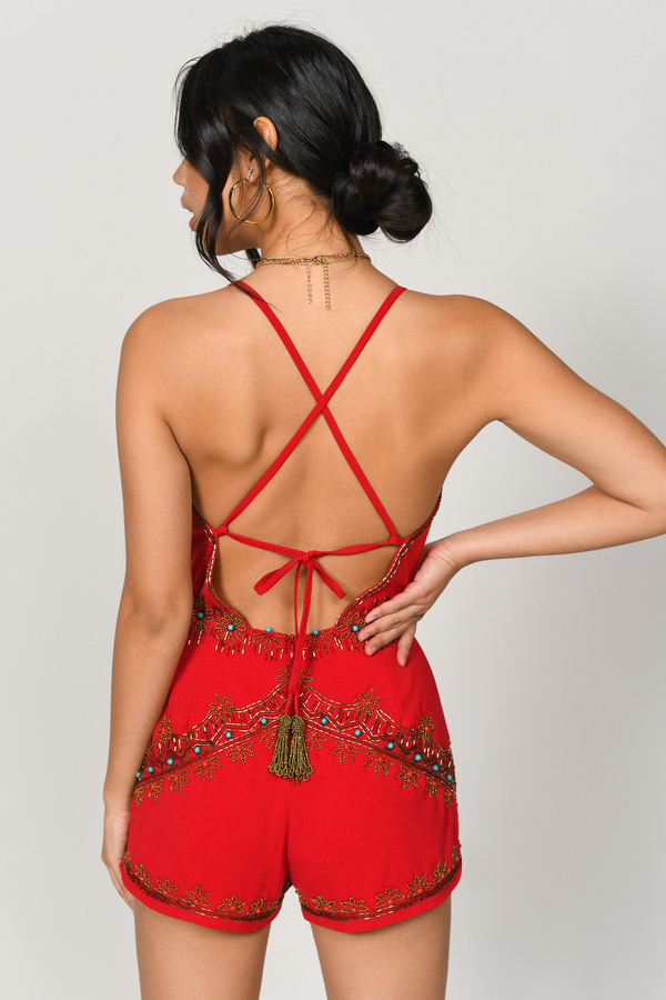 5685106605e1 Red Rompers - Beaded Romper - Red Embellished Romper - Holiday ...