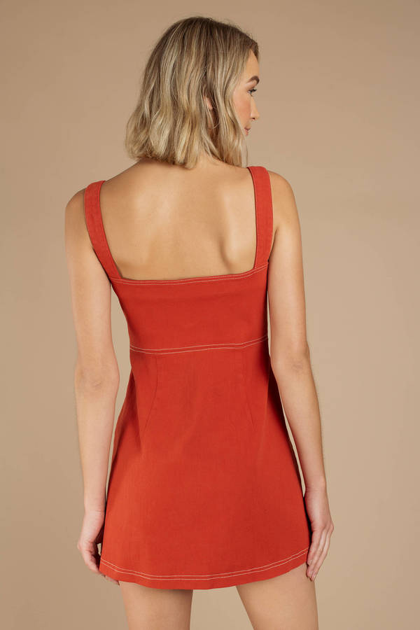 e43196b26ec Red Capulet Dress - O Ring Zipper Dress - Red Zip Dress -  148