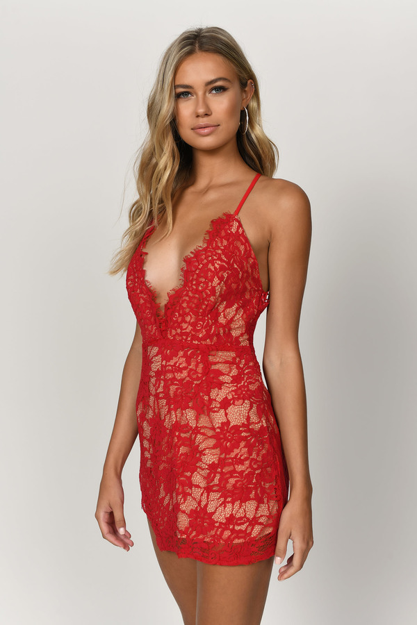 Red lace bodycon dress uk