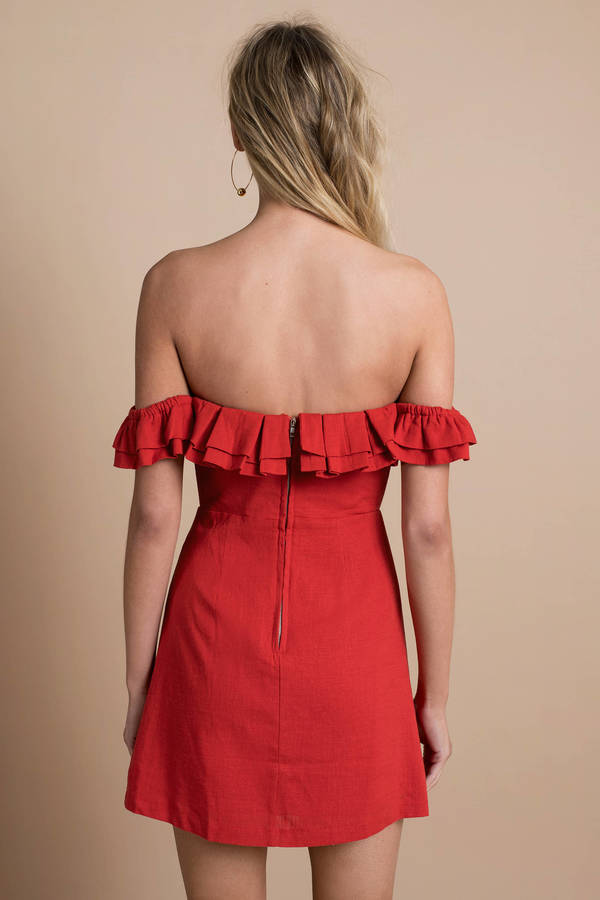 595813ae1ef4 Trendy Red Casual Dress - Ruffled Dress - Red Off Shoulder Dress - S ...