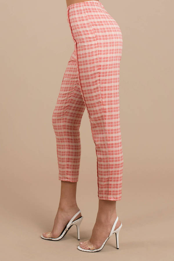 c40ac48870 Red Pants - High Waisted Plaid Pants - Red Preppy Pants - Straight ...