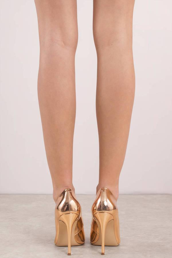 314f460513b Gold Steve Madden Heels - Metallic Pumps - Gold Shiny Closed Toe ...