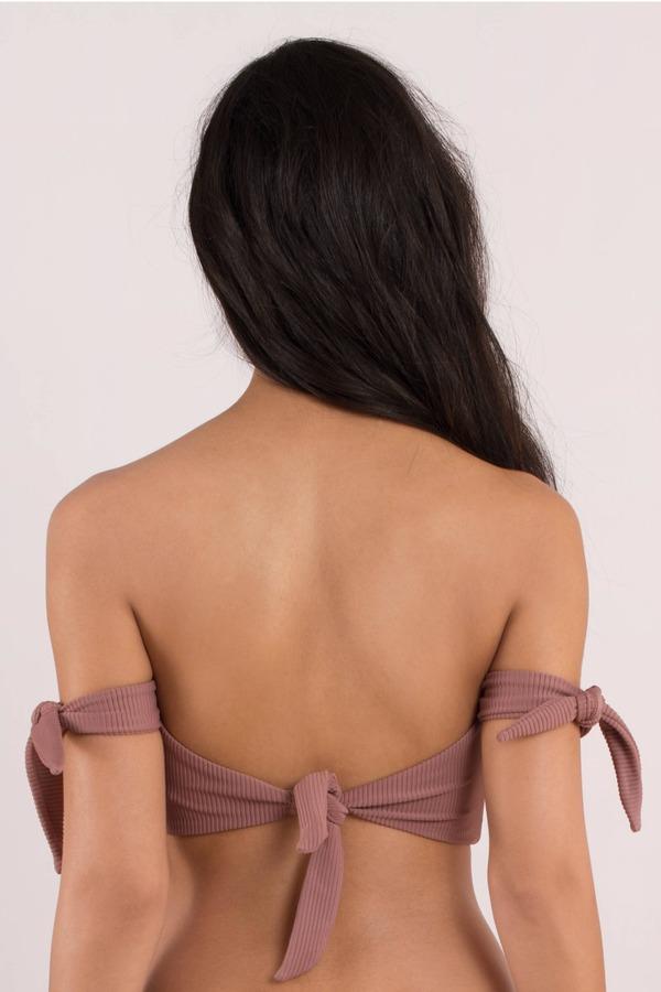 2ad784e21c Pink Bikini Top - Front Knot Bikini Top - Pink Off Shoulder Swim Top ...