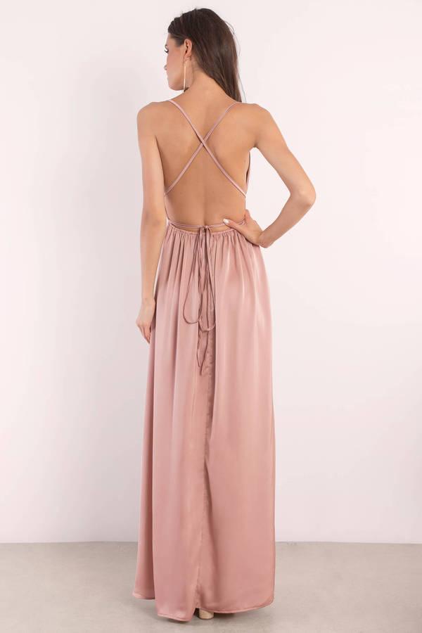 Blush pink satin maxi dress