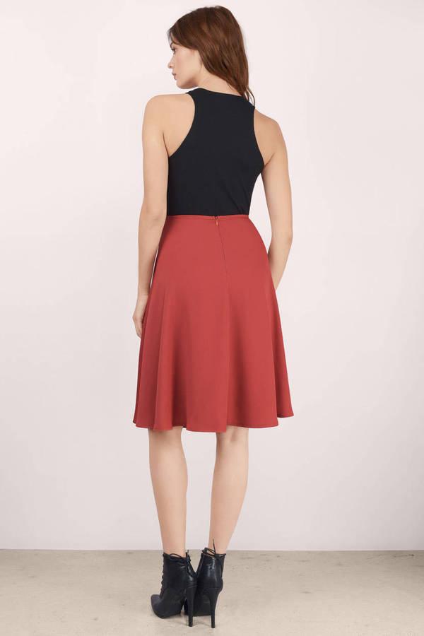 Rust Skirt - Red Skirt - Midi Skirt - $50.00