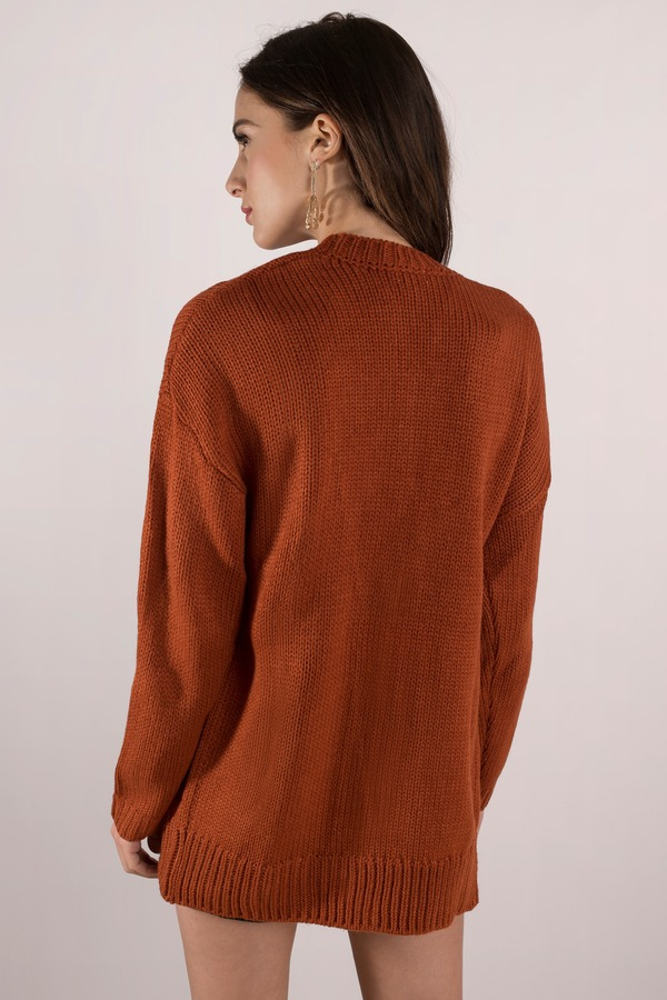 Trendy Rust Cardigan Button Up Cardigan Rust Cardigan