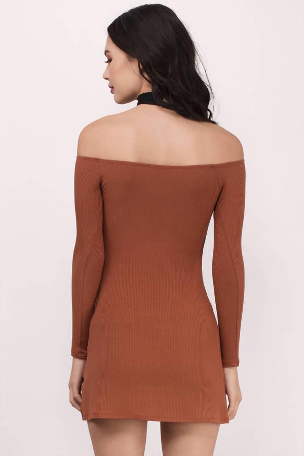 9feff93ff61 Cute Rust Bodycon Dress - Off Shoulder Dress - Bodycon Dress - kr ...