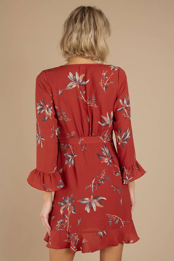 974702675353 Red Wrap Dress - Floral Ruffle Dress - Red Printed Dress -  86