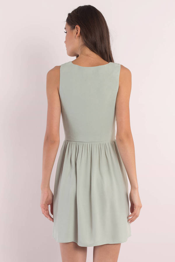 488e73616a Green Shift Dress - Deep V Dress - Sleeveless Dress -  18