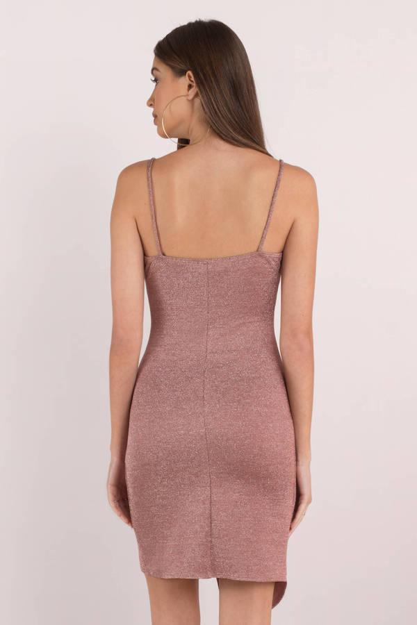 47042b13078b Pink Bodycon Dress - Wrap Dress - Pink Asymmetrical Dress - Metallic ...