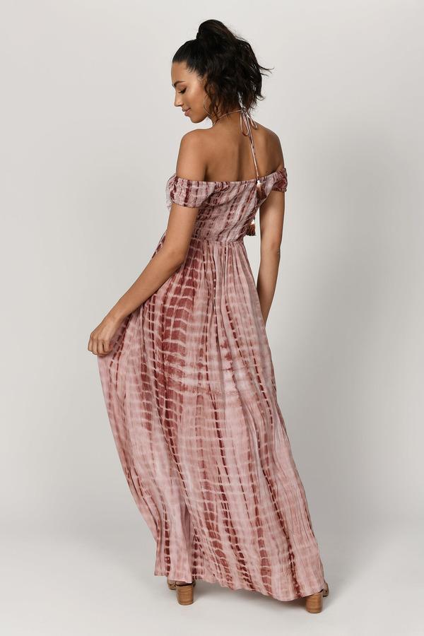 Let It Be Sienna Off Shoulder Maxi Dress by Tobi