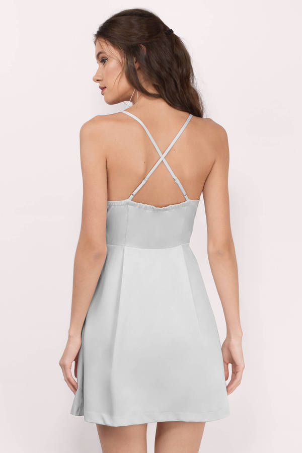 d3e2d43ecc34 Sexy Silver Skater Dress - Holiday Dress - Silver Cami Dress -  16 ...