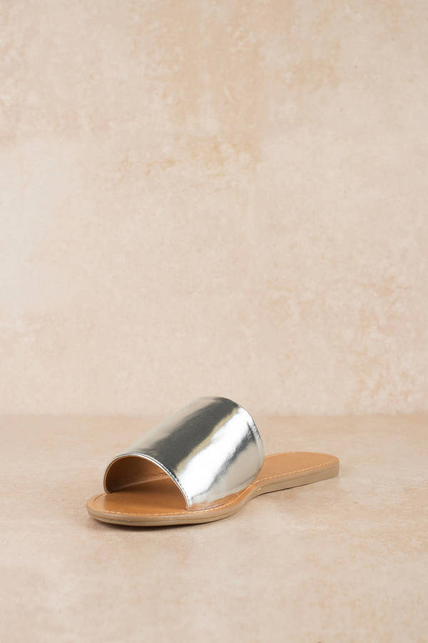 599e91963 Silver Sandals - Flat Sandals - Silver Beach Slides - £40