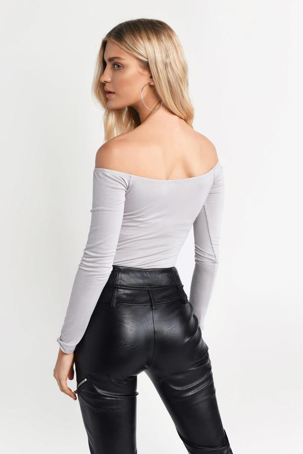 a1ce58d3fa35ea Grey Bodysuit - Fitted Boho Bodysuit - Grey Bardot Bodysuit - £19 ...