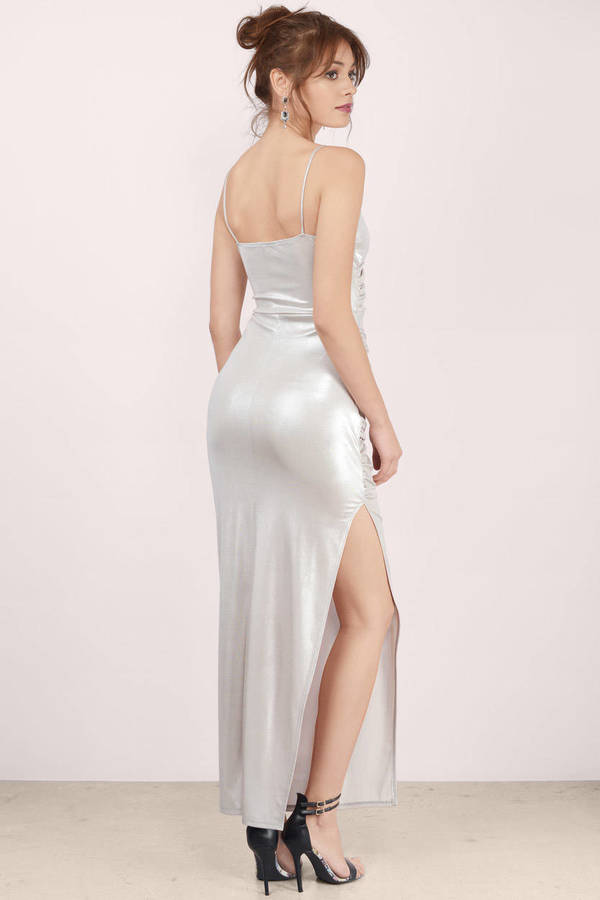 Free Shipping Sites >> Sexy Silver Maxi Dress - Silver Dress - Draped Dress ...