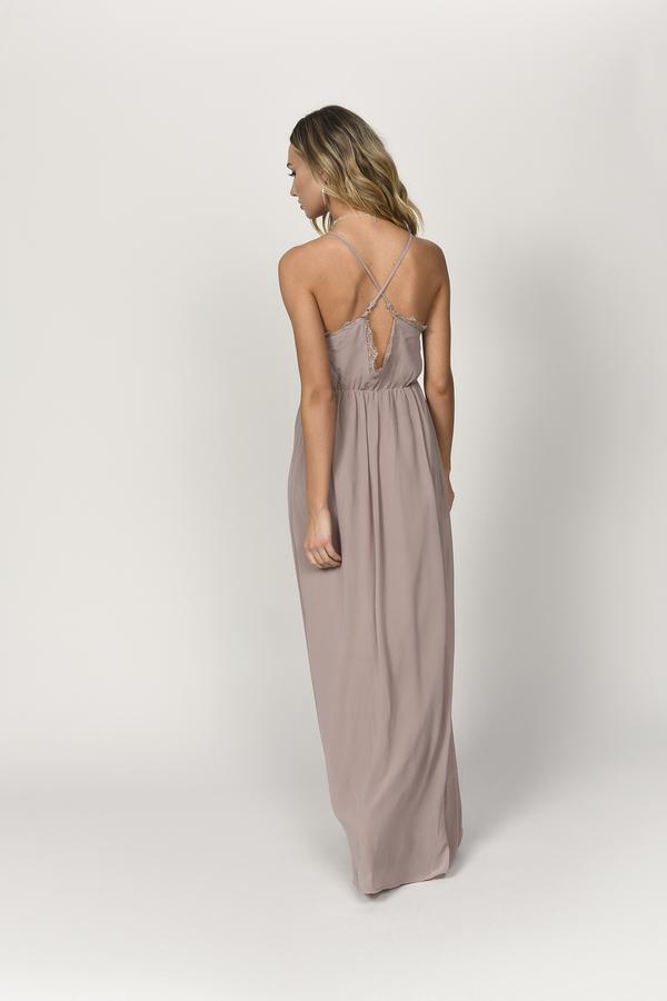 0313b86d59fa Beige Maxi Dress - Plunging Maxi Dress - Beige Formal Dress - C$ 53 ...