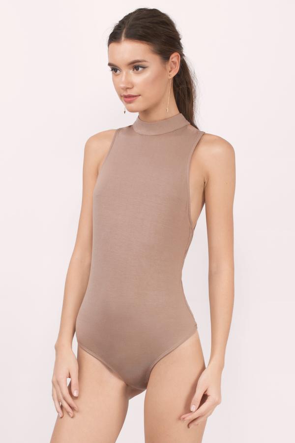 Trendy Taupe Bodysuit - Mock Neck Bodysuit - Taupe Bodysuit - € 9 ... 7972f9f95