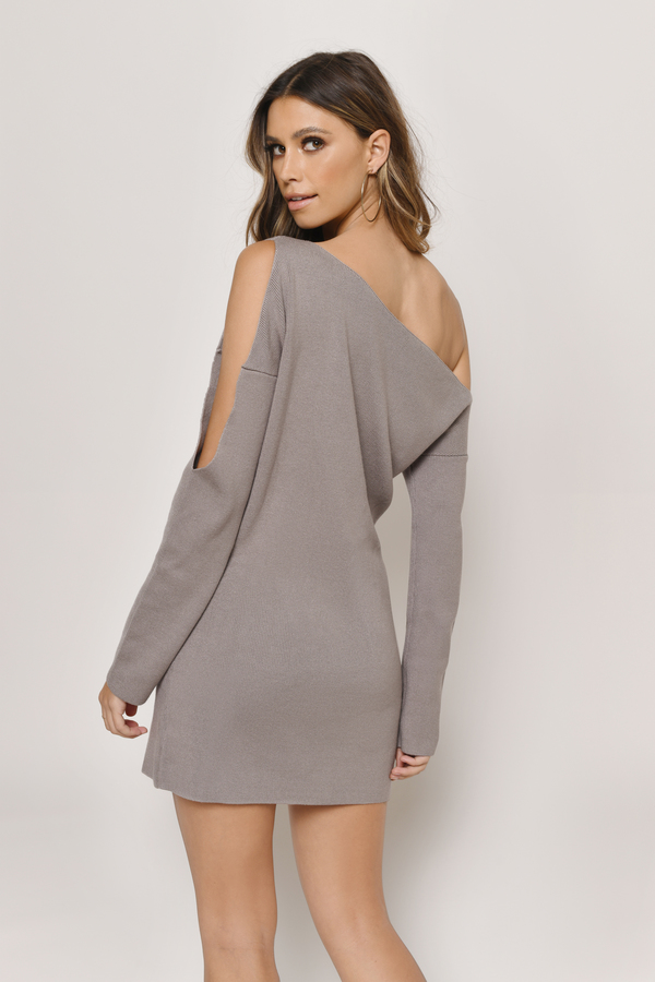 47dec4565b5 Cute Taupe Dress - Cold Shoulder Dress - Long Sleeve Dress -  31 ...