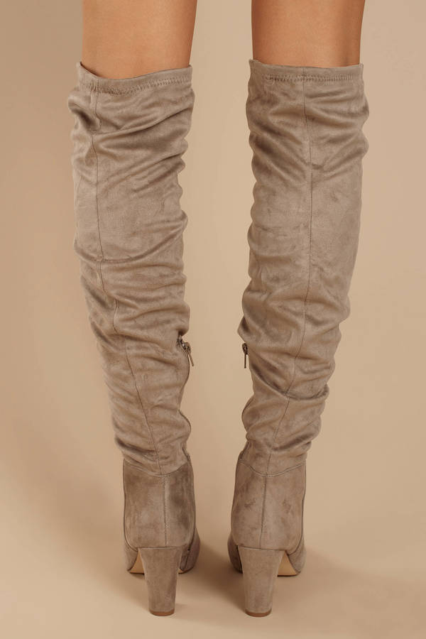 d5294b47ede ... Chinese Laundry Chinese Laundry Remi Taupe Faux Suede Slouchy Thigh  High Boots