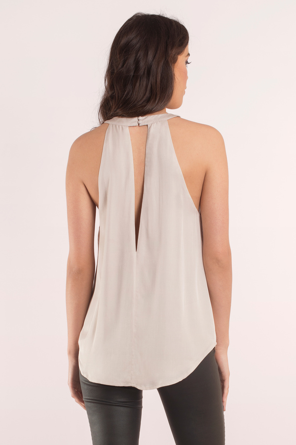 e2f2a1cc51f025 Cute Taupe Tank Top - Mock Neck Top - Beige Top - Taupe Tank -  9 ...