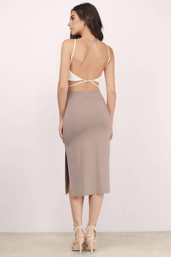 Cute Taupe Skirt - Brown Skirt - High Waisted Skirt - $42.00