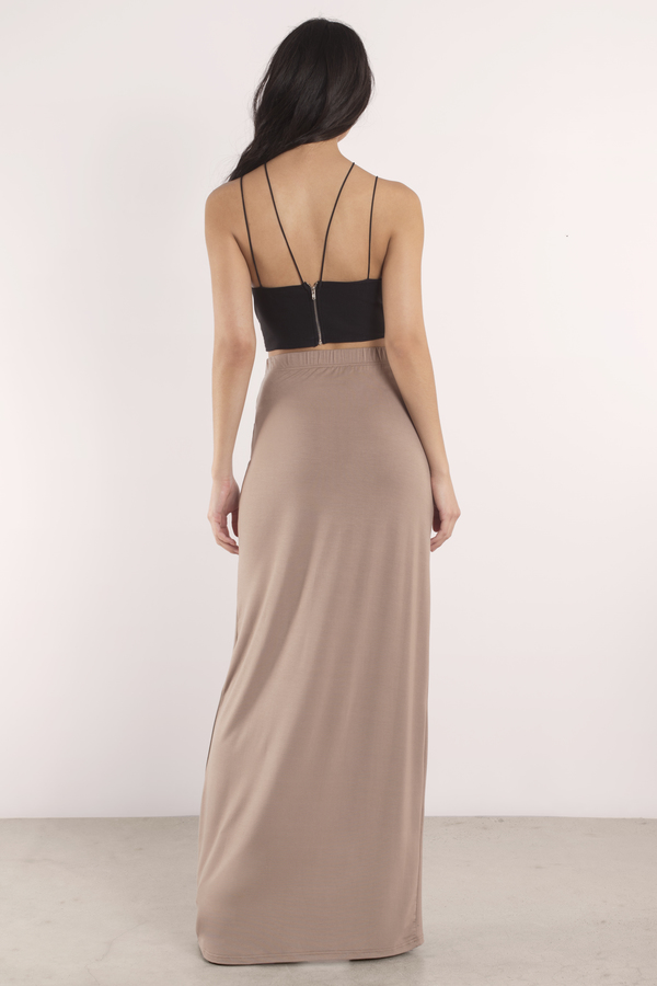 d94398ccef Sexy Taupe Skirt - Front Slit Skirt - Maxi Skirt - Taupe Skirt - $10 ...
