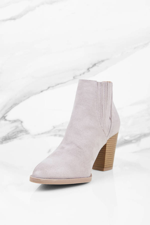 2560ea8f7c3ca Taupe Boots - Suede Ankle Boots - Light Grey Boots - Suede Short ...