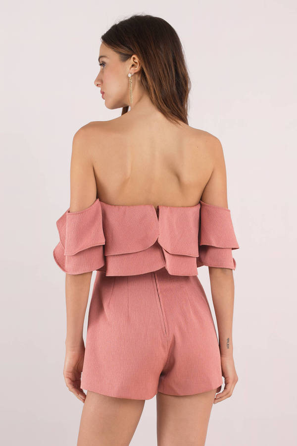 4e663d0c3edc ... Keepsake Keepsake No Reason Terracotta Off The Shoulder Playsuit ...