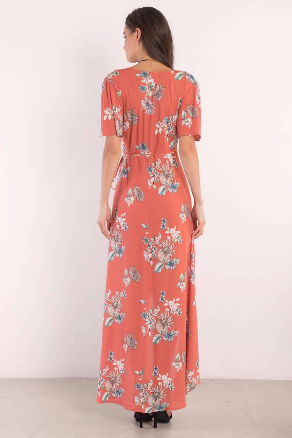 Wrap Dresses Floral Long Black Satin Wrap Around Front