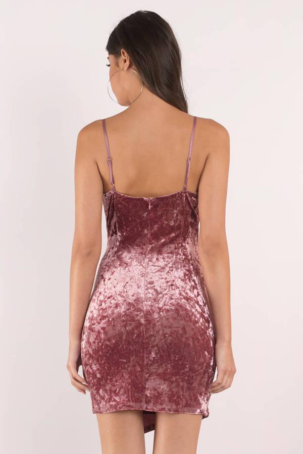 6e544f9157af Chic Pink Wrap Dress - Velvet Slip Dress - Pink Ruched Dress - $24 ...