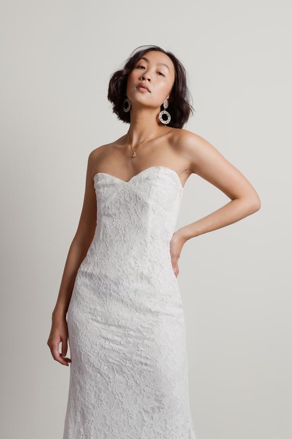52a02036308 White Dress - Strapless Bridal Dress - White Lace Maxi Dress - kr ...